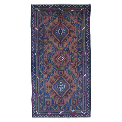 One-of-a-Kind Adelphi Persian Antique Baluch Oriental Hand Woven Wool Blue Area Rug
