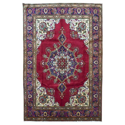 One-of-a-Kind Ders Persian Antique Kashan Oriental Hand Woven Wool Red Area Rug