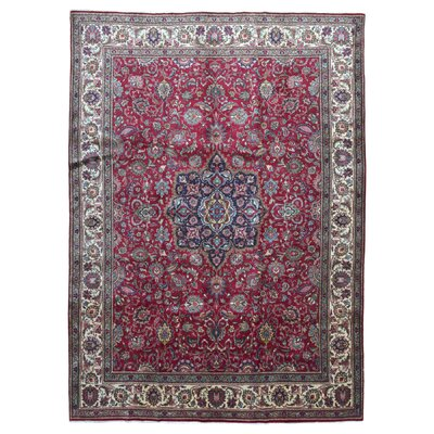 One-of-a-Kind Lance Persian Antique Kashan Oriental Hand Woven Wool Red Area Rug