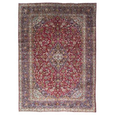 One-of-a-Kind Solomon Persian Antique Kashan Oriental Hand Woven Wool Red Area Rug
