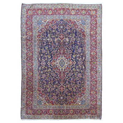One-of-a-Kind Reeve Persian Antique Kashan Hand Woven Wool Blue Area Rug