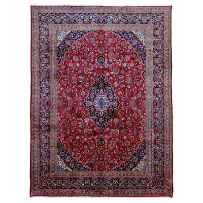 One-of-a-Kind Billie Persian Antique Kashan Oriental Hand Woven Wool Red/Blue Area Rug