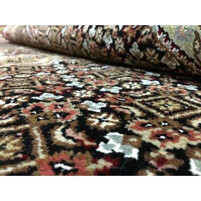 One-of-a-Kind Slagen Oriental Hand Woven Wool Black Area Rug