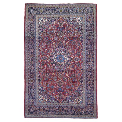 One-of-a-Kind Bo Persian Antique Kashan Oriental Hand Woven Wool Red/Blue Area Rug
