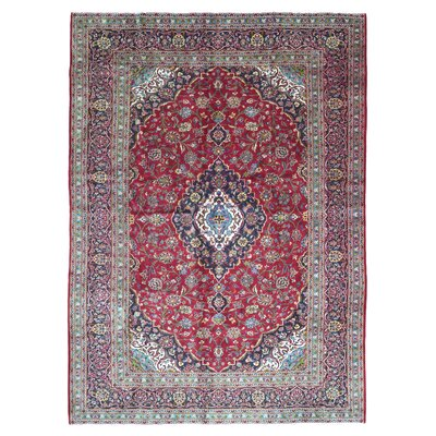 One-of-a-Kind Carl Persian Antique Kashan Oriental Hand Woven Wool Red/Blue Area Rug