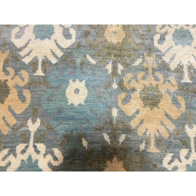 One-of-a-Kind Erinn Oushak Turkish Knot Hand Woven Wool Blue Area Rug