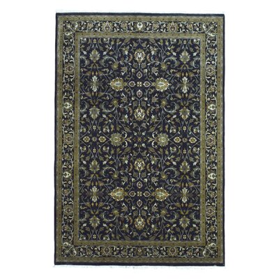 One-of-a-Kind Slagen Oriental Floral Hand Woven Wool Navy Area Rug