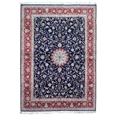 One-of-a-Kind Slagen Oriental Floral Hand Woven Rectangle Wool Navy Area Rug