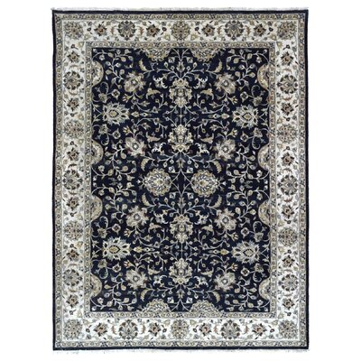 One-of-a-Kind Pearle Oriental Hand Woven Rectangle Wool Black Area Rug