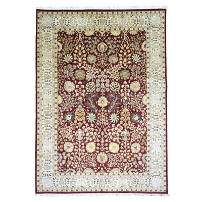 One-of-a-Kind Slagen Oriental Geometric Hand Woven Wool Red Area Rug