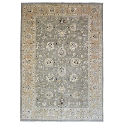 One-of-a-Kind Pearle Traditional Oriental Hand woven Wool Green/Beige Area Rug