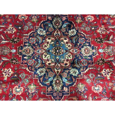 Deion Persian Semi-Antique Kashan Oriental Hand Woven Wool Red/Blue Area Rug