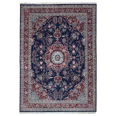 One-of-a-Kind Slagen Traditional Oriental Floral Hand Woven Wool Navy Area Rug