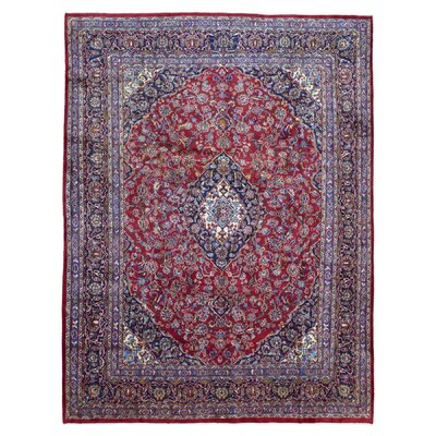 One-of-a-Kind Evander Persian Semi-Antique Kashan Oriental Hand Woven Wool Red/Blue Area Rug