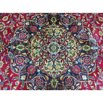 One-of-a-Kind Gordie Persian Semi-Antique Mashad Oriental Hand Woven Wool Red/Blue Area Rug
