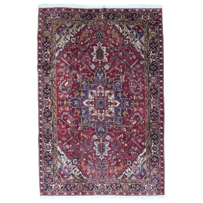 Hakeem Persian Semi-Antique Heriz Oriental Hand Woven Wool Red/Blue Area Rug