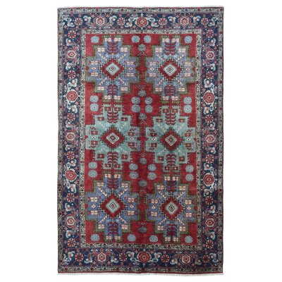 One-of-a-Kind Airside Persian Semi-Antique Heriz Oriental Hand Woven Wool Red Area Rug