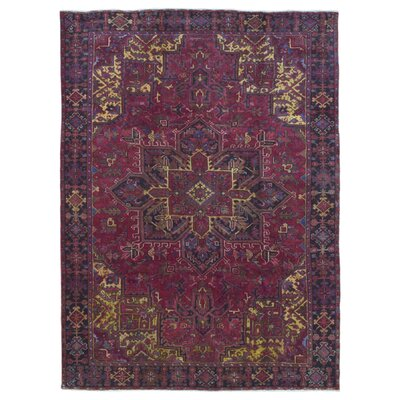 One-of-a-Kind Akbez Persian Semi-Antique Heriz Oriental Hand Woven Wool Red/Black/Yellow Area Rug