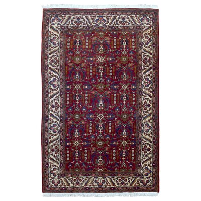 One-of-a-Kind Aldous Persian Semi-Antique Heriz Oriental Hand Woven Wool Red Area Rug