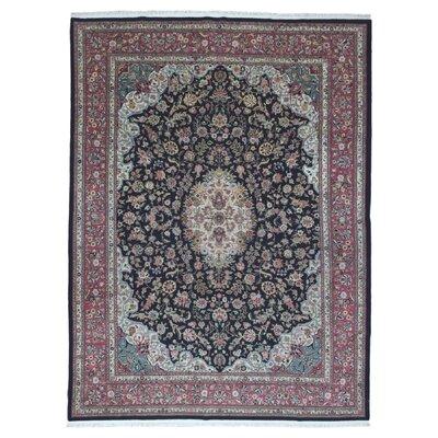 One-of-a-Kind Slagen Oriental Hand Woven Wool/Silk Black Area Rug