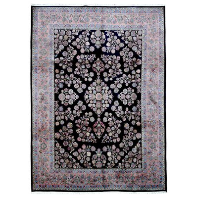 One-of-a-Kind Kester Sarouk Oriental Hand Woven Wool Black/Blue/Pink Area Rug