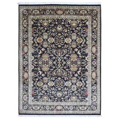 One-of-a-Kind Slagen Oriental Hand Woven Wool Navy Area Rug