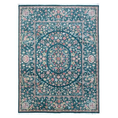 One-of-a-Kind Rukunayake Oriental Hand Woven Wool Green Area Rug