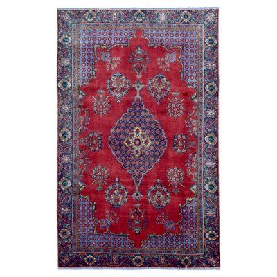One-of-a-Kind Bridgett Persian Semi-Antique Tabriz Hand Woven Wool Red Area Rug