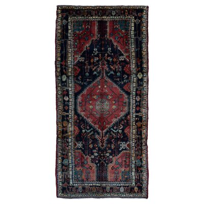 One-of-a-Kind Alaca Persian Semi-Antique Hamadan Oriental Hand Woven Wool Red Area Rug