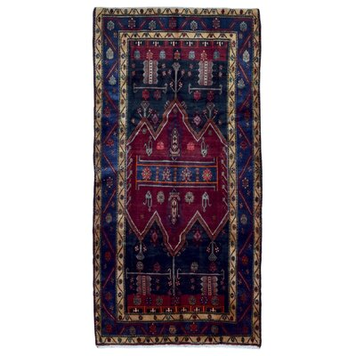 One-of-a-Kind Alayah Persian Semi-Antique Hamadan Oriental Hand Woven Wool Blue Area Rug