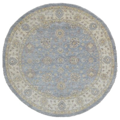 Ardith Hand Woven Round Wool Blue/Beige Area Rug