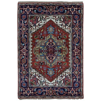 Roselle Traditional Hand Woven Wool Navy/Red Area Rug