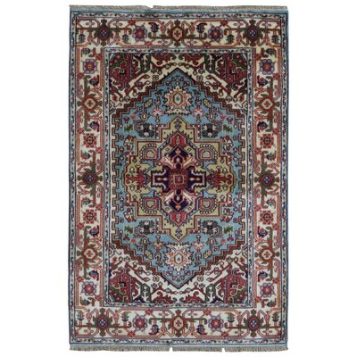 Roselle Traditional Hand Woven Wool Blue/Beige Area Rug Rug SIze: Rectangle 4 x 6