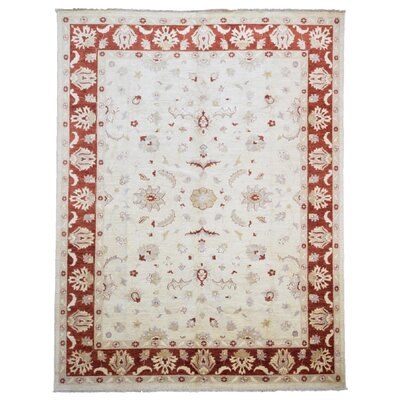 Ardith Hand Woven Wool Beige/Red Area Rug