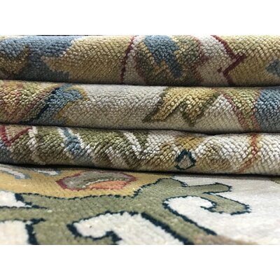Carmon Vegetable Dye Hand Woven Wool Blue/Beige Area Rug