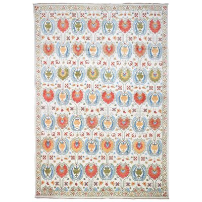 Roswell Hand Woven Wool Beige/Red Area Rug