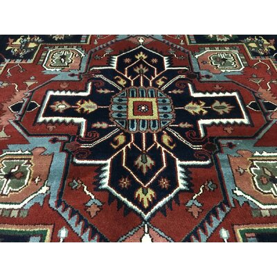 Roselle Hand Woven Wool Red/Black Area Rug