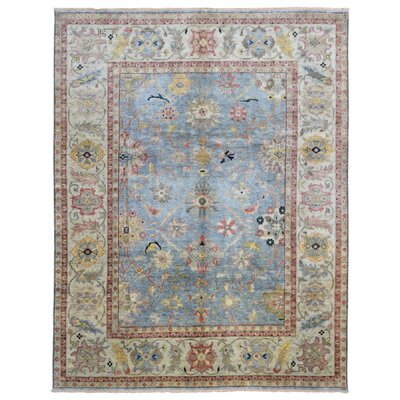 Carmon Traditional Hand Woven Wool Blue/Beige Area Rug