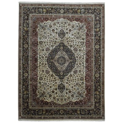 One-of-a-Kind Ballyclarc Hand Woven Wool Black/Beige Area Rug