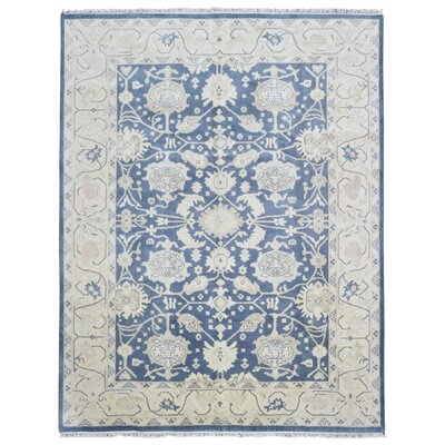 Mitchel Classic Rectangle Hand Woven Wool Blue/Beige Area Rug
