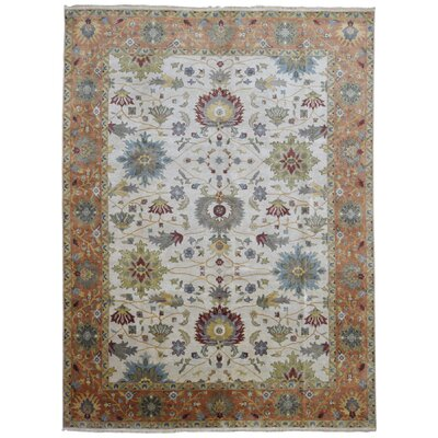 Carmon Hand Woven Wool Beige/Orange Area Rug