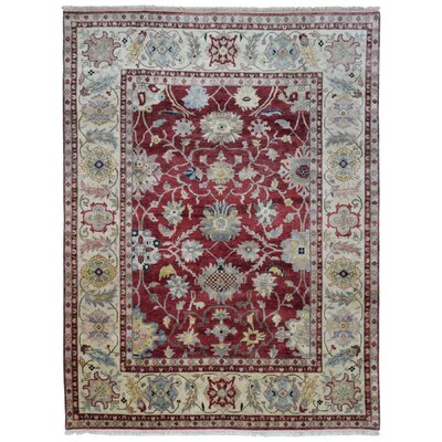 Carmon Hand Woven Wool Red/Beige Area Rug