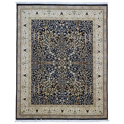 Ballyclarc Tree of Life Hand Woven Wool Black/Beige Area Rug