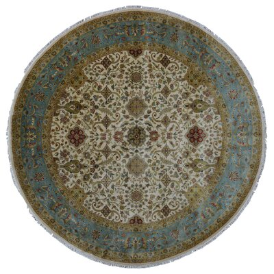 Ballyclarc Traditional Hand Woven Wool Beige/Blue Area Rug
