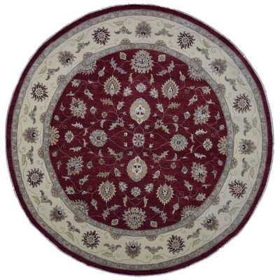 Ardith Round Hand Woven Wool Red/Beige Area Rug