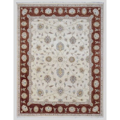 Ardith Traditional Hand Woven Wool Beige/Red Area Rug