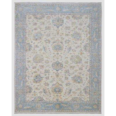 Ardith Hand Woven Wool Beige/Blue Area Rug