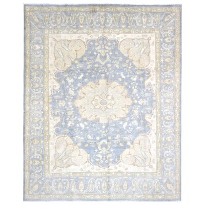 Ardith Hand Woven Wool Beige/Blue Area Rug