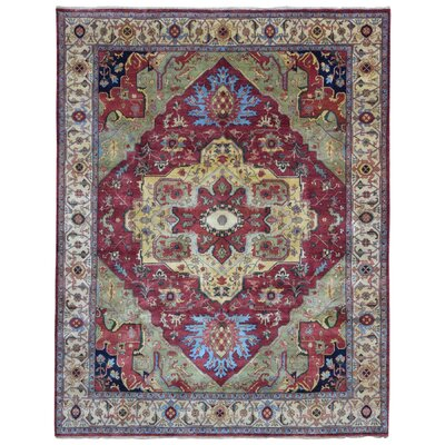 Roselle Oriental Hand Woven Wool Red Area Rug