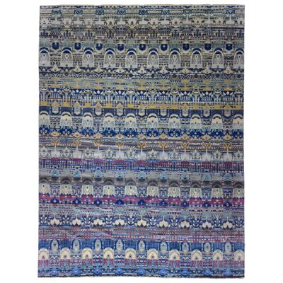 Alani Oriental Hand Woven Wool Blue/Gray Area Rug